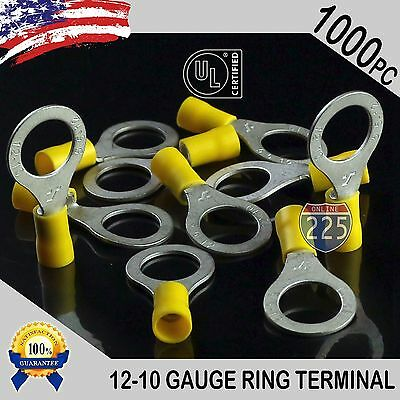 """1000 PACK Yellow 12-10 Gauge 1/2"""" IN Stud Insulated Vinyl Copper Ring Terminals"""