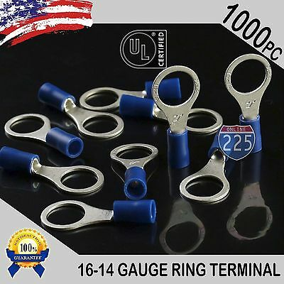 """1000 PACK 16-14 Gauge 3/8"""" Stud Insulated Vinyl Tin Copper Ring Terminal #3/8 UL"""