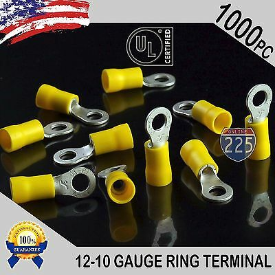 1000 PACK 12-10 Gauge #10 Stud Insulated Vinyl Ring Terminals Tin Copper Core US