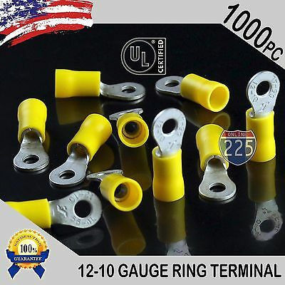 1000 PACK 12-10 Gauge #8 Stud Insulated Vinyl Ring Terminals Tin Copper Core US