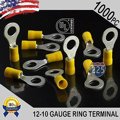 """1000 PACK 12-10 Gauge 5/16"""" Stud Insulated Vinyl Ring Terminals Tin Copper Core"""