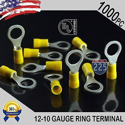 """1000 PACK 12-10 Gauge 3/8"""" Stud Insulated Vinyl Ring Terminals Tin Copper Core"""