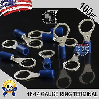 "100 PACK 16-14 Gauge 3/8"" Stud Insulated Vinyl Ring Terminals Tin Copper Core US"