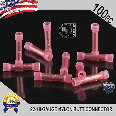 100 Pack 22-18 Gauge Wire Butt Connectors Red Nylon 22-18 AWG Crimp Terminal PRO