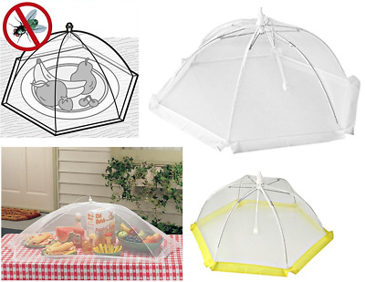 2 x Collapsible Food Cover Mesh Fly Wasp Net Party Kitchen PopUp Food Cover 46cm