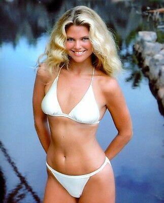 1980's supermodel	CHRISTY BRINKLEY white bikini 7x10 portrait