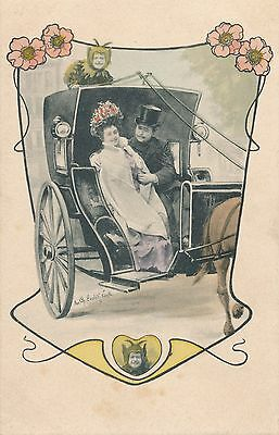 Art Nouveau Hand Colored Postcard of Couple in Covered Wagon - udb (pre 1908)