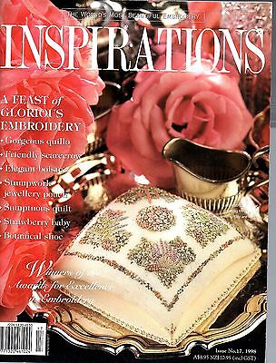 Inspirations - beautiful Embroidery Issue 17 1998 quillo bolster stumpwork quilt