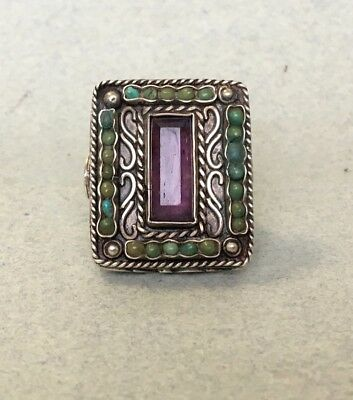 vintage Amethyst STERLING SILVER MEXICO RING Matl Style 925 turquoise Chunky O