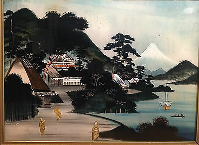 OIL PAINTING on glass Rare 19th Century Japanese / Chinese piece Similar £8000