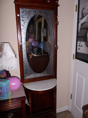 VICTORIAN HALL TREE w/ ETCHED MIRROR COAT HAT RACK MARBLE TABLE SHELF
