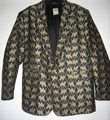Men's 1980s Vintage Jean Paul Gaultier Jacket with Griffin Fabric Black and Gold