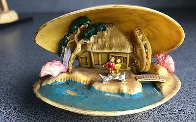 Antique Chinese Miniature Shell Ornament House and water wheel