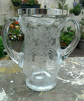 Antique Silver Topped Twin-Handled Etched Glass Celery Vase