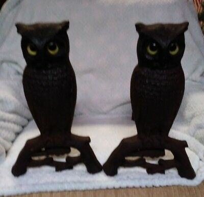 """Vintage Set of 15"""" Cast Iron Owl Fireplace Andirons Glass Eyes Antique Excellent"""