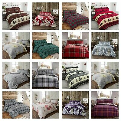 100% Brushed Cotton Thermal Flannelette Duvet Quilt Cover Bedding + Pillowcase