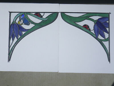 Beautiful PAIR Ladybug Bee Flowers Leaded STAINED GLASS Panels
