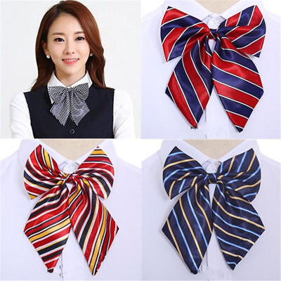 Business Stewardess Reception Womens Collar Flowers Bow Tie Cravat Uniform Wear