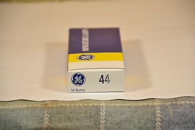 Box of 10 General Electric 44 GE44 Miniature Radio Lamps Light Bulbs 6.3V 0.25A