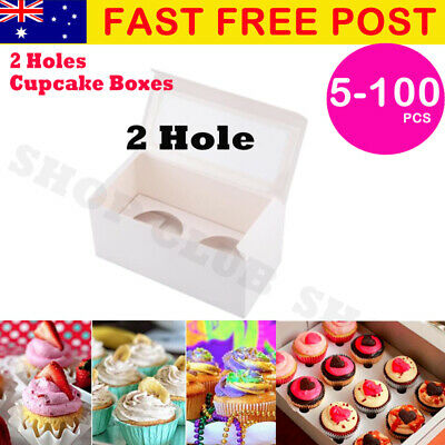 2 Hole Cupcake Boxes 5/10/20/50/100Pk Window Face With Inserts Cake Boxes Boards