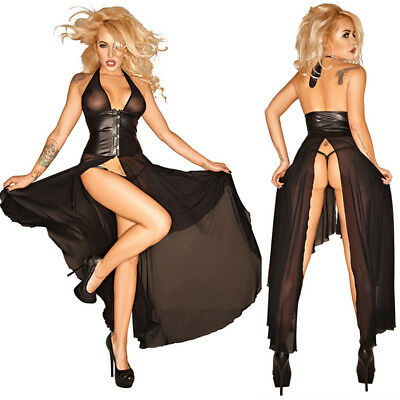 Womens gothic fetish high split faux leater Mesh bondage long dress g-string set