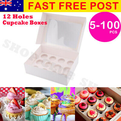 12 Hole Cupcake Boxes 5/10/20/50/100 Window Face With Inserts Cake Boxes Boards