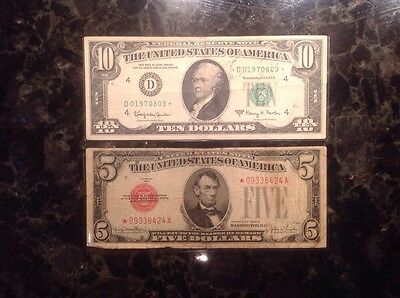 1963 A $10 - Cleveland - STAR NOTE + 1928 F $5 - USN - STAR NOTE