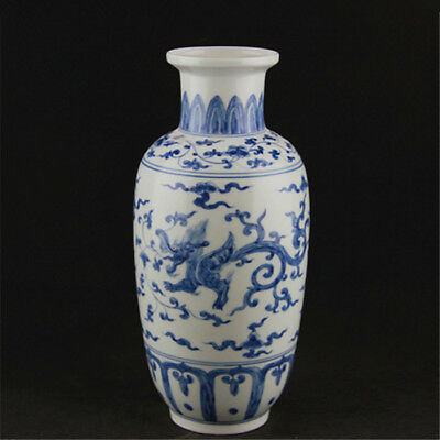 Chinese Old Marked Blue And White Twined Branches Dragon Pattern Porcelain Vase
