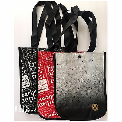 Lululemon Tote Bag Manifesto Red Black Holiday Small Reusable Shopping Eco Gift