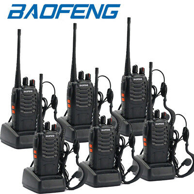 6 Pack Baofeng BF-888S UHF 400-470MHz 16CH USB Two-way Ham Radio