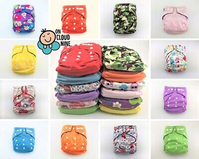 6X Bamboo Cloth Nappies Baby GIRL Reusable Charcoal Nappy Diaper & 5Layer Insert