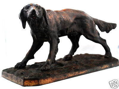 """Great Early 1900's Antique Heavy Solid Bronze & Metal Large 12"""" Dog Sculpture"""