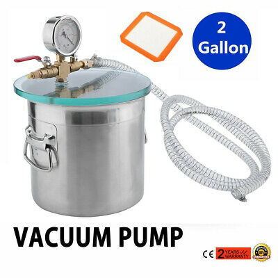 2 Gallon Vacuum Chamber & 3 CFM Single Stage Pump Kit for Degassing Silicones VP