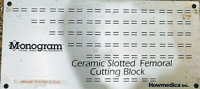 Monogram Howmedica Ceramic Slotted Femoral Cutting Block - Surgical Tray