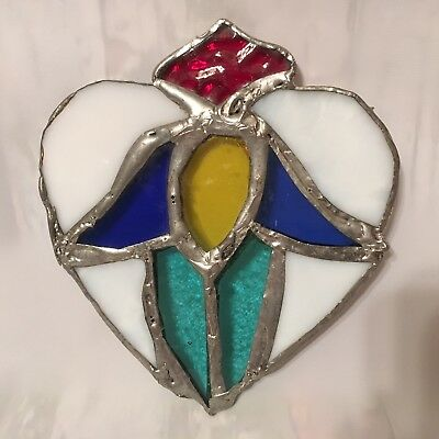 Vintage Leaded Stained Glass Angel In A Heart Sun Catcher