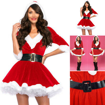 hOT Sexy Women's Santa Claus Christmas Costume Cosplay Lady Outfit Fancy Dress