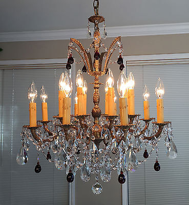Antique 16-Light Crystal w Dark Ruby Drops Ornate Bronze Brass Chandelier