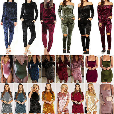 Women Crushed Velvet Tracksuit Outfits Leotard Jumpersuit Bodycon Clubwear Dress