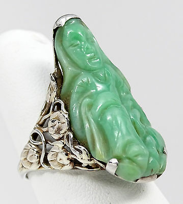 Antique Chinese 14K White Gold Carved Jade Guanyin Buddha, Lily Flower Ring 8.8g