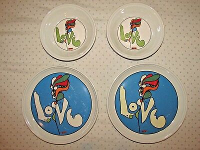 4 piece set of Peter Max Iroquois Love (2) dinner plates (2) bowls psychedelic