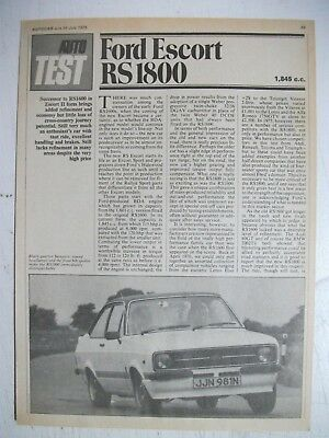 1975 Ford Escort Rs1800 5 Page British Magazine Road Test Article