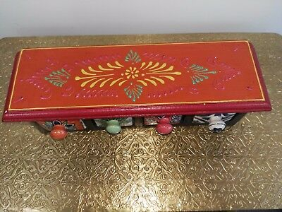 Handcrafted Wooden & Ceramic Multi-color 4 Drawer Box