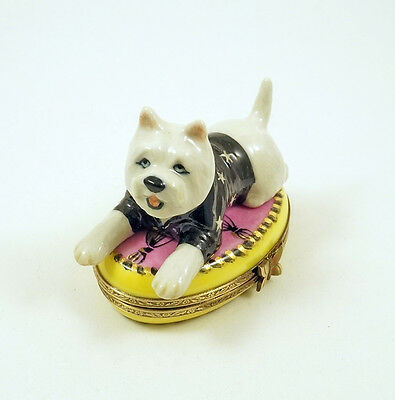 New French Limoges Trinket Box Cute Westie Dog Puppy On Pink Rug W Gold Tassels