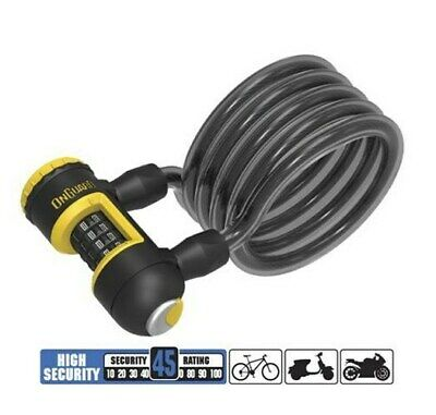 OnGuard 8173 Neon Colour Coiled Combination Bike Lock 1.2m x 8mm 235g