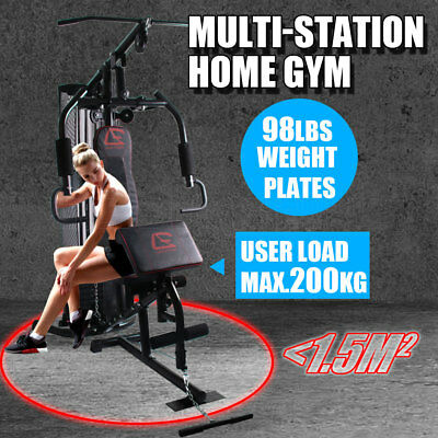 Multi Station Home Gym Fitness Equipment Bench Press  Adjustable Weight Stack Oz