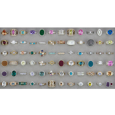 72 Cubic Zirconia and Women's Rings, Wholesale Rings with Tray, Ready to sell