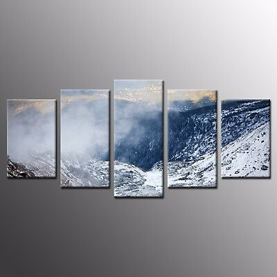 Modern Art for Wall Home Decor Snow Mountain Canvas Prints Picture-5pcs