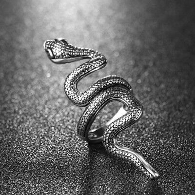 Gothic Snake Animal Vintage Jewelry Men Women Stainless Steel Punk Rock Ring