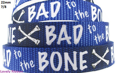 1 metre, BAD TO THE BONE, Blue, 22mm, Ribbon, 7/8, Grosgrain, Hair, Sewing