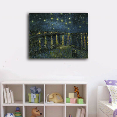 Van Gogh Starry Night Stretched Canvas Print Framed Wall Art Home Decor Gift
